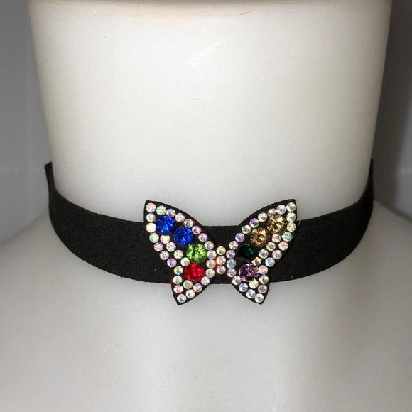 Jewelry - Faux Suede Choker W/crystal Butterfly